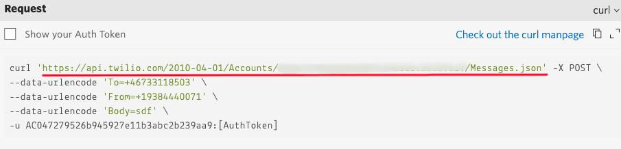 Finding the API URL in the Twillo console