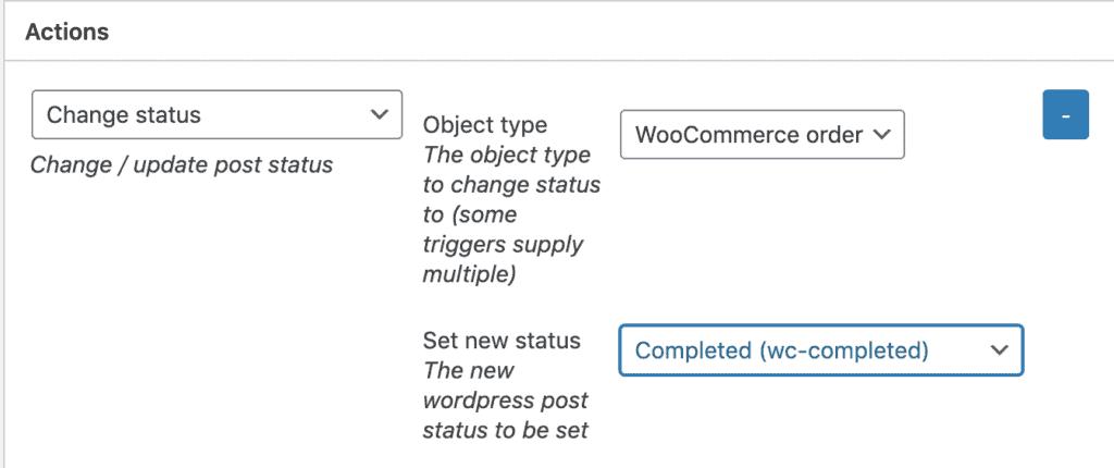 Settting WooCommerce order status via WunderAutomation