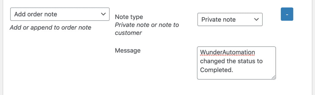 Adding an WooCommerce order note via WunderAutomation